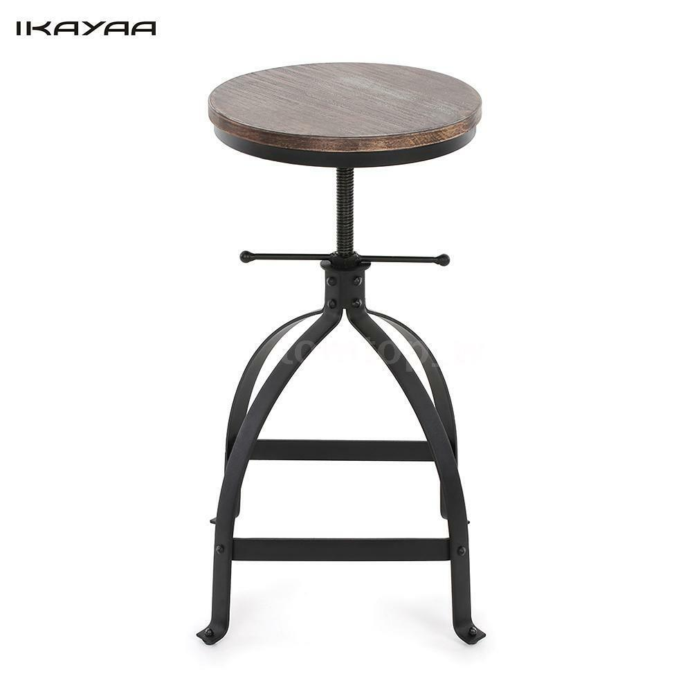 Vintage Wood Top Bar Stool Height Adjustable Swivel Chair