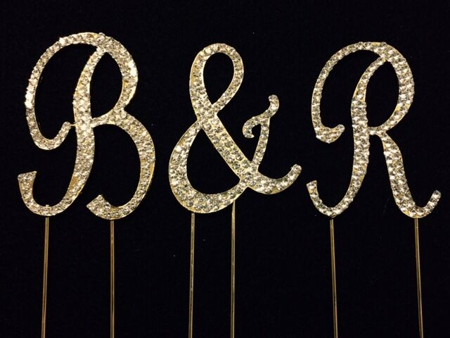 bling wedding cake toppers uk small gold rhinestone covered monogram initial letter 11939