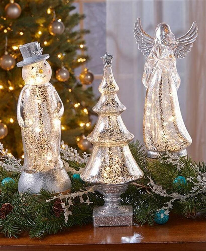 Vintage crackle mercury glass look lighted angel tree snowman winter home decor ebay for Angel of the north christmas decoration
