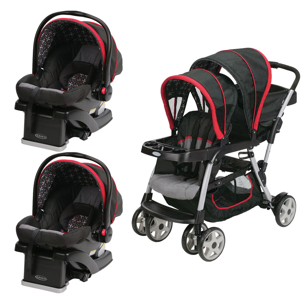 graco click connect double seated stroller and 2 car seats travel system marco ebay. Black Bedroom Furniture Sets. Home Design Ideas