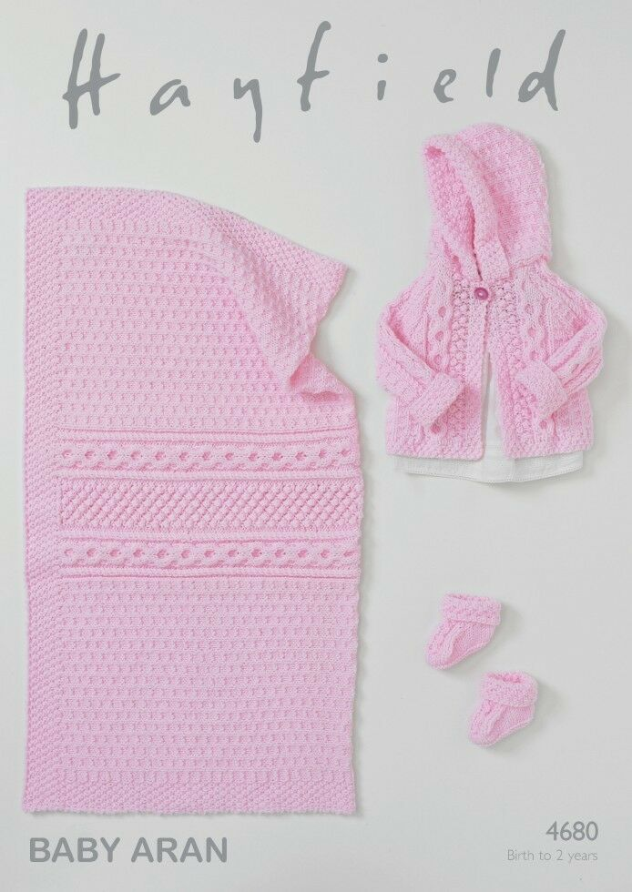 Hayfield Knitting Patterns For Babies : Hayfield Baby Jacket, Booties & Blanket Knitting Pattern 4680 Aran (Sird....