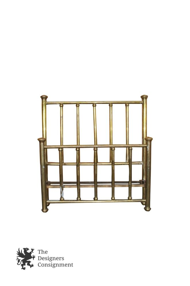 antique brass headboard footboard victorian style bed aged patina full size ebay. Black Bedroom Furniture Sets. Home Design Ideas