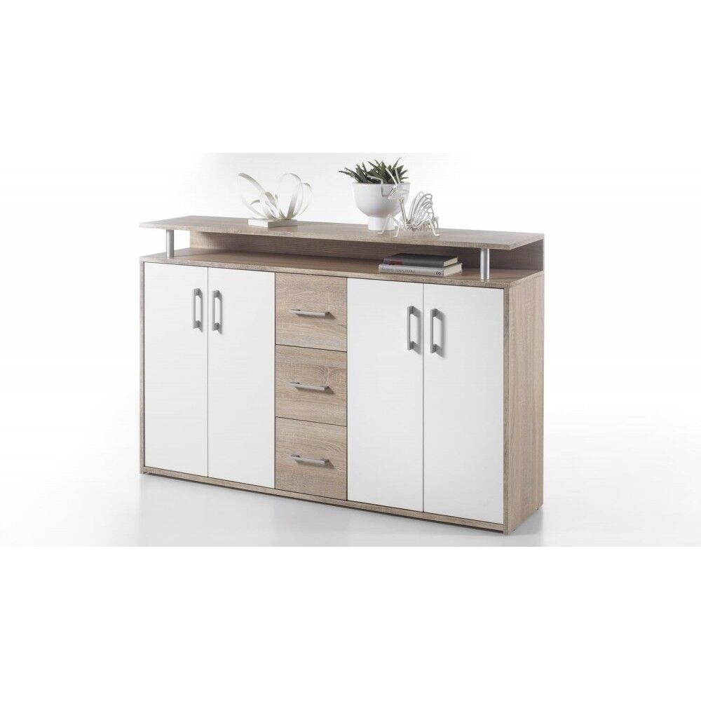 drift highboard kommode sideboard eiche s gerau dekor weiss ca 139 cm breit ebay. Black Bedroom Furniture Sets. Home Design Ideas