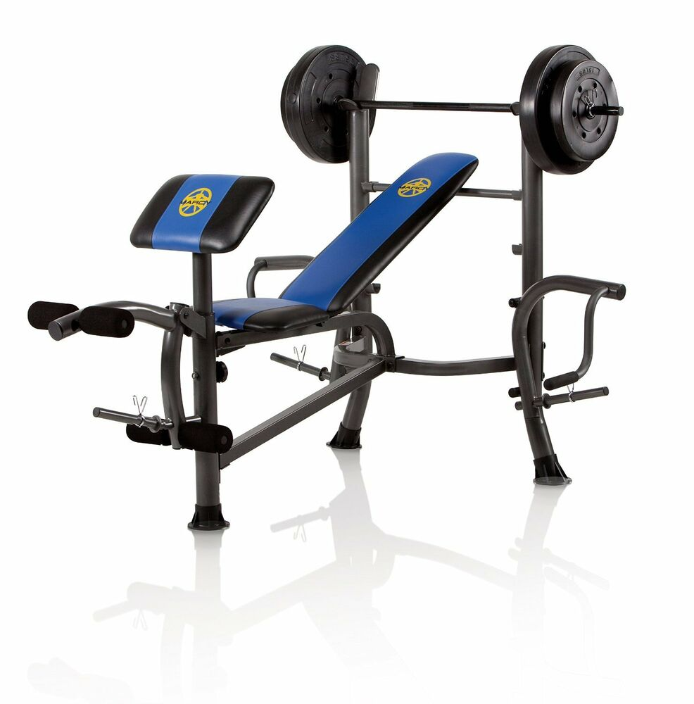 Free Weights On Bench: Marcy Standard Bench With 80 Lb Weight Set With Butterfly
