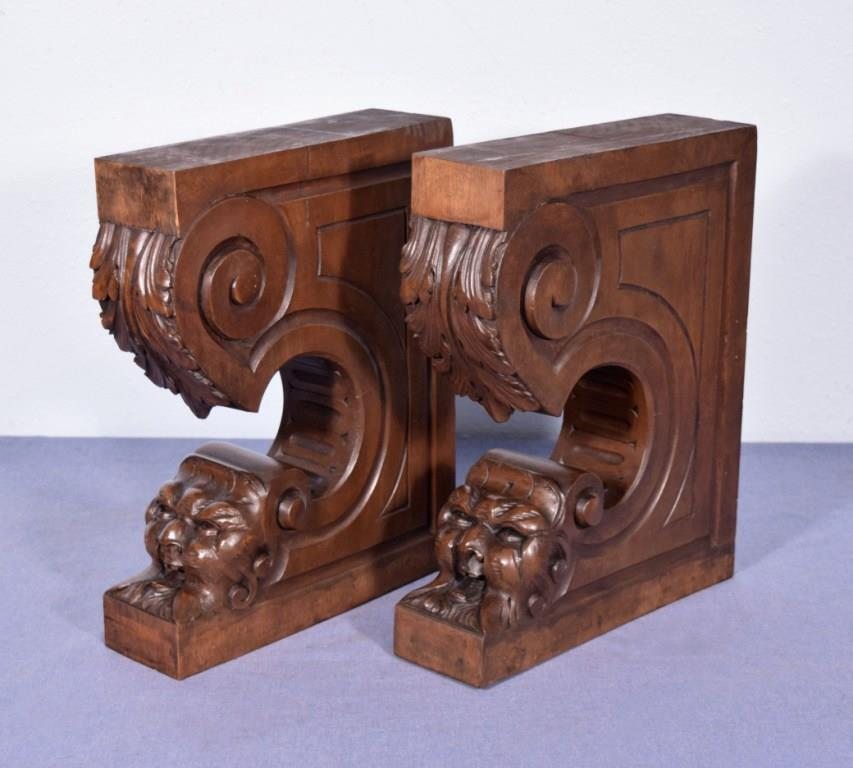 Pair of xl antique french walnut corbels brackets carved for Architectural corbels and brackets