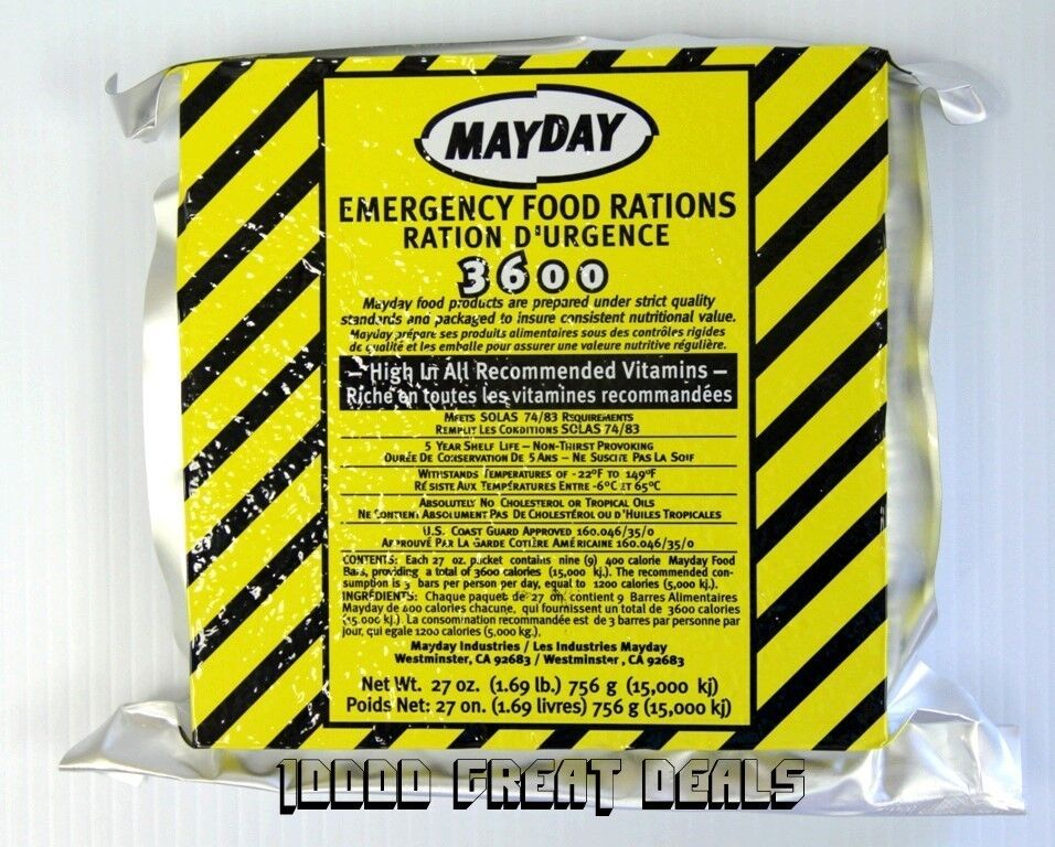 Mayday 3600 Calorie 3 Day Emergency Food Supply Ration Ebay