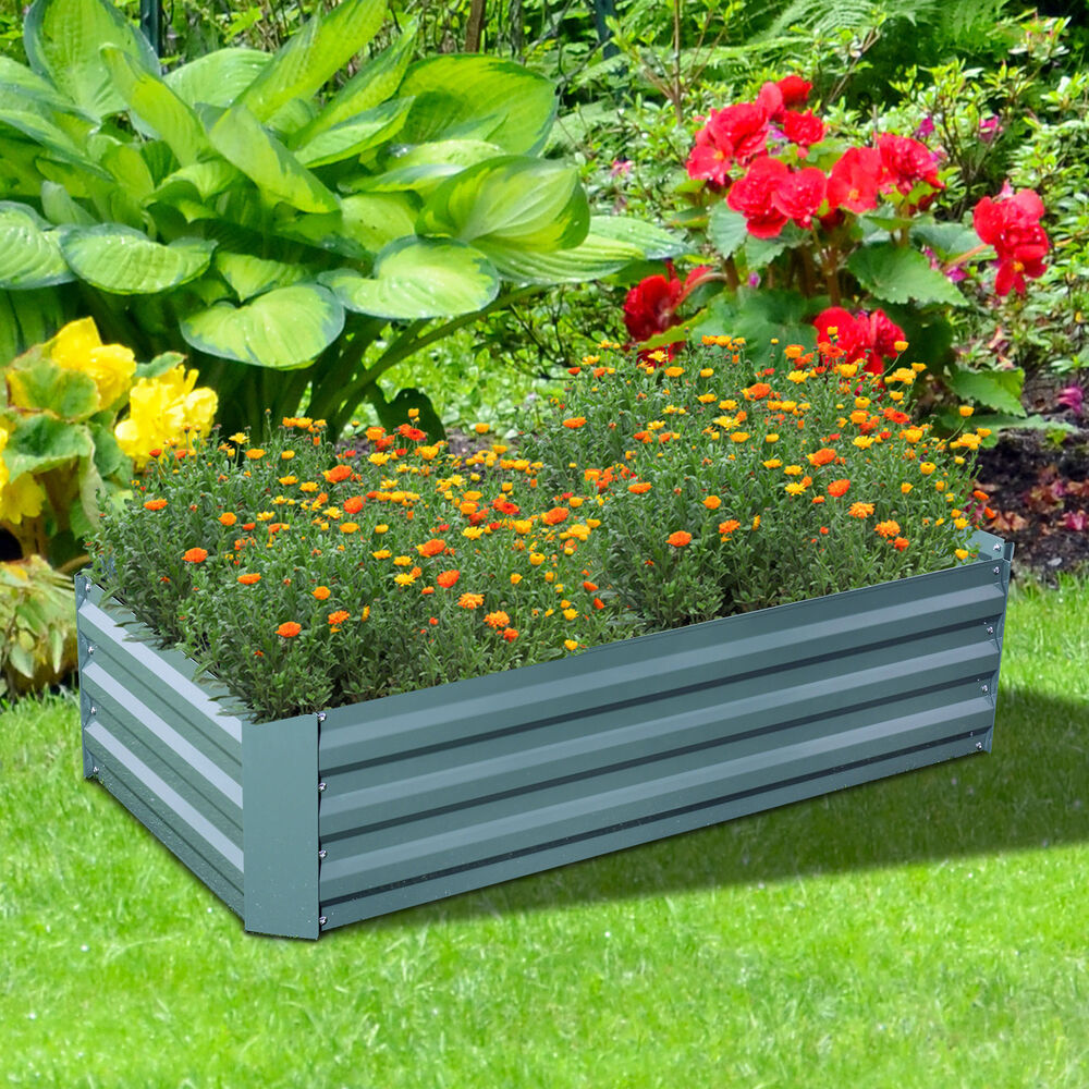 48 Quot X 24 Quot Metal Raised Garden Bed Flower Vegetable Planter