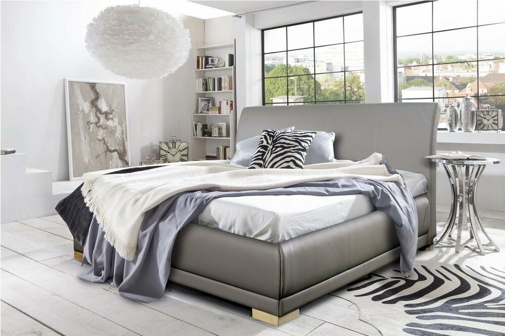 boxspringbett doppelbett grau kunstleder bettkasten. Black Bedroom Furniture Sets. Home Design Ideas