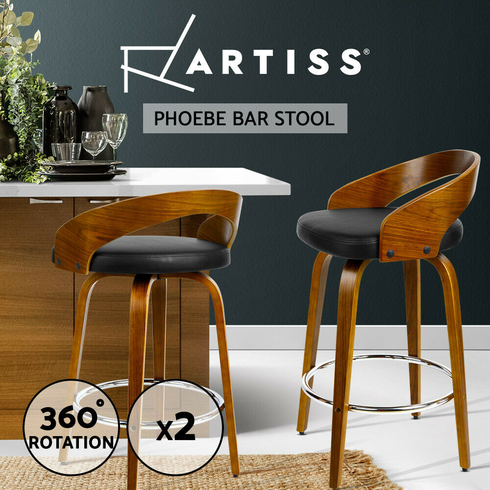 2x Wooden Bar Stools Swivel Barstool Kitchen Dining Chair