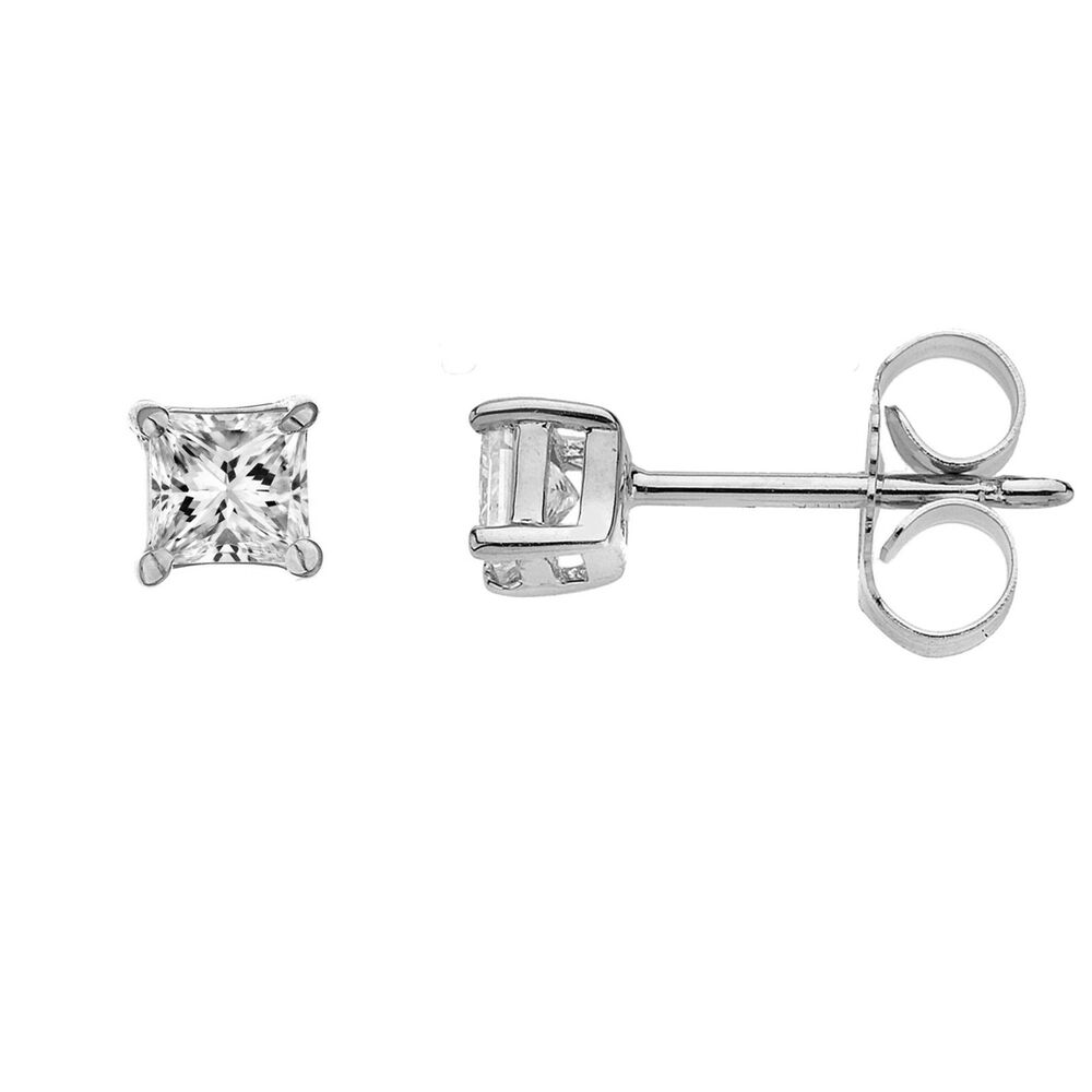 31e6eac07 Details about 14K Solid White Gold 5mm CZ Stud Earrings 1ct Princess Cut