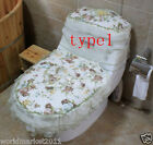3X Lovely Style Practical Green S 45 * 32 CM Fabric Three-Piece Toilet Covers