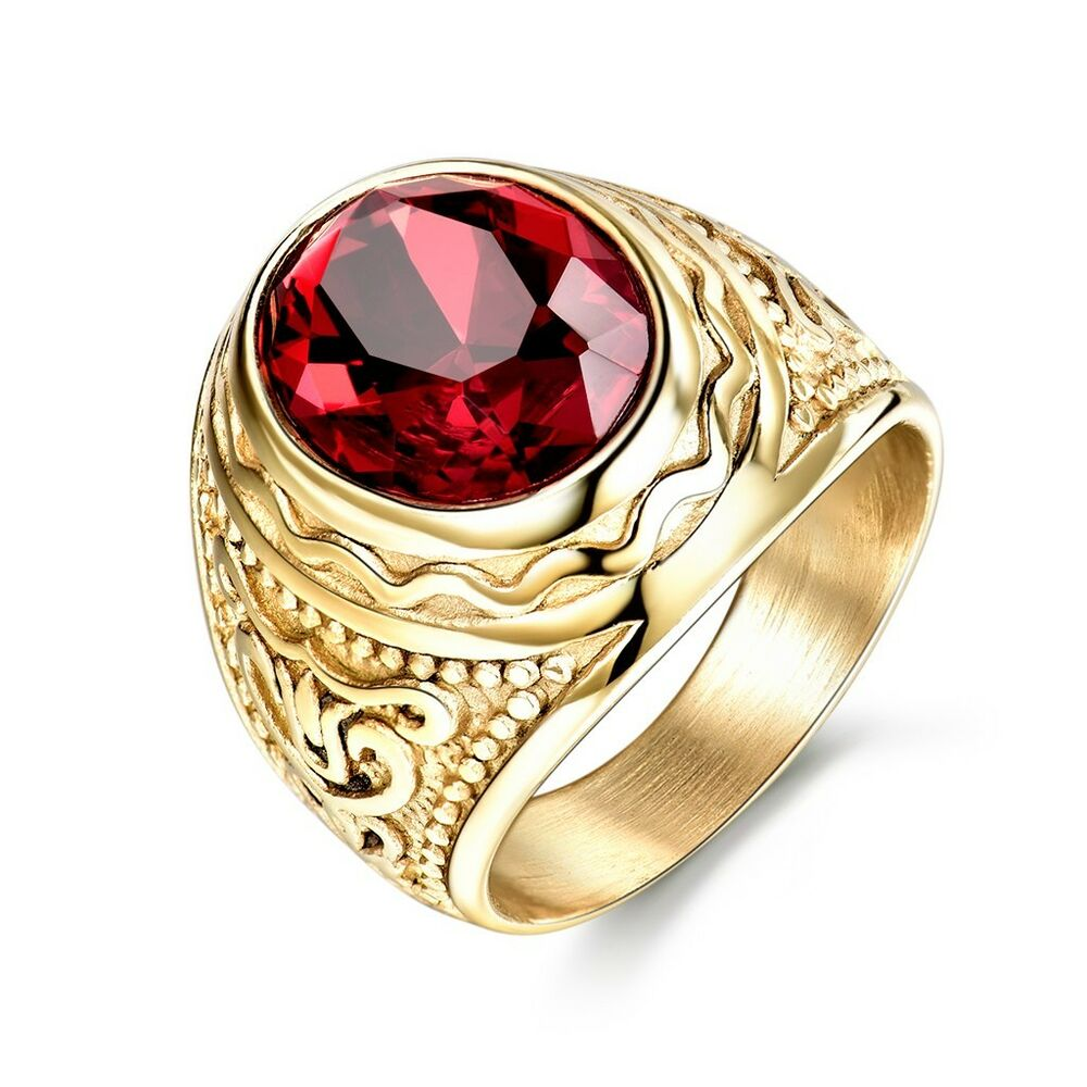 Mens Jewelry 316L Gold Stainless Steel Antique Red Garnet Mens Ring Sz8 12