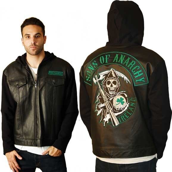 sons of anarchy soa ireland leather fleece highway zip up. Black Bedroom Furniture Sets. Home Design Ideas