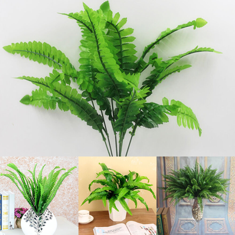 Delicate green fake plants man made leaves grass home for Artificial plants for decoration