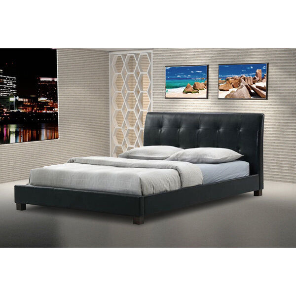 modern black bed contemporary faux leather platform bed by baxton studio ebay 12539
