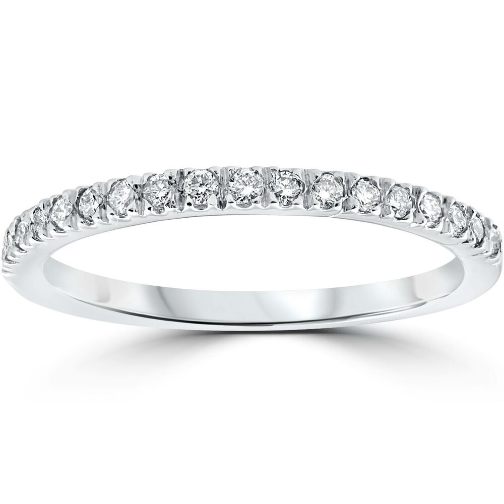 White Gold Wedding Rings For Women With Diamonds 1/4 ct Pave Diamond We...