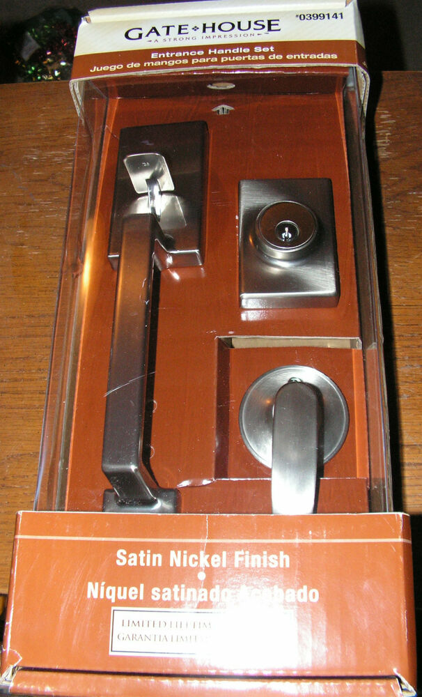 Gate House Satin Nickel Finish Entrance Handle Set New