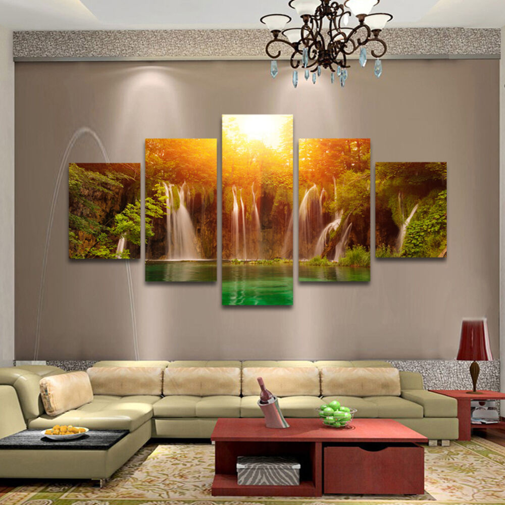 5pcs Hd Unframed Canvas Waterfall Wall Art Oil Painting