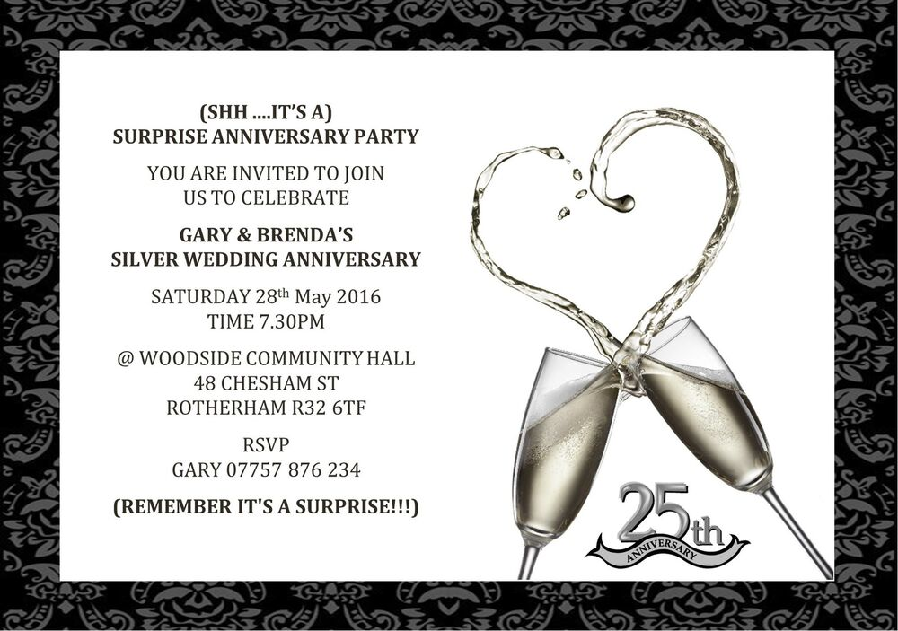 Surprise Wedding Anniversary Invitations: 10 Personalised Surprise 25th Silver Wedding Anniversary