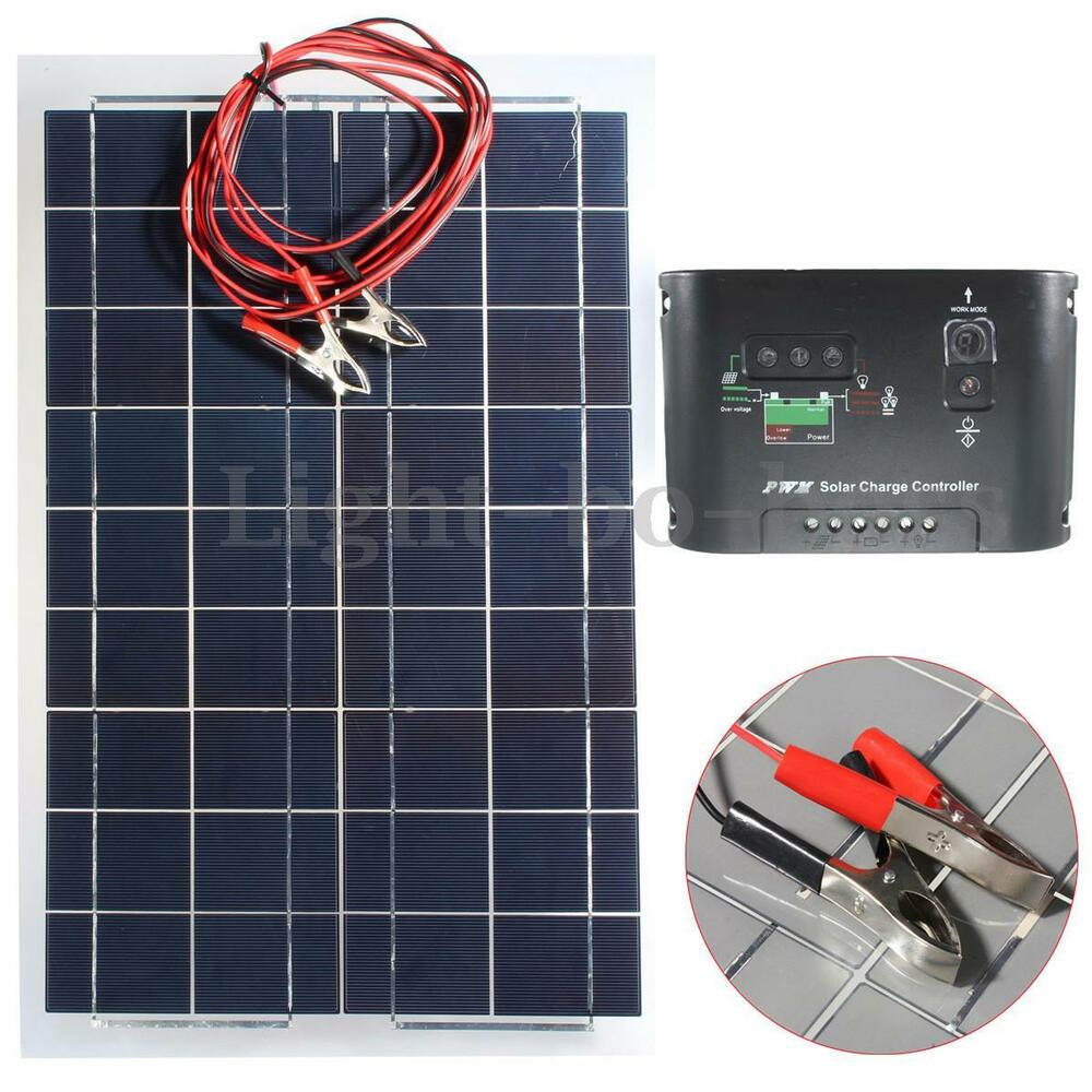 kit 30w 12v panneau solaire cellule regulateur de charge pr voiture camping ebay. Black Bedroom Furniture Sets. Home Design Ideas