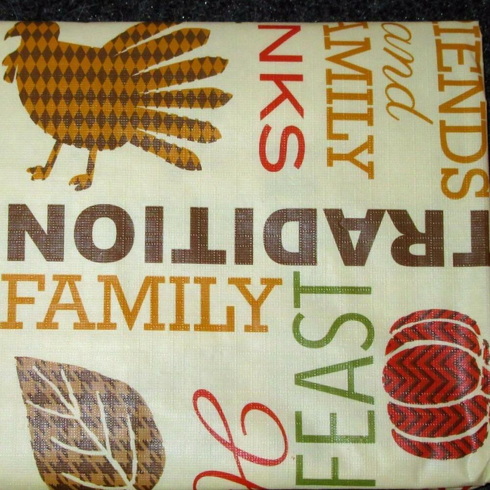 Thanksgiving Turkey Vinyl Tablecloth Flannel Back All