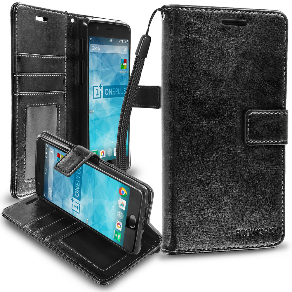 free shipping 8f088 849d3 For OnePlus 3 Three PROWORX Wallet Case Credit Card ID Slots Black ...