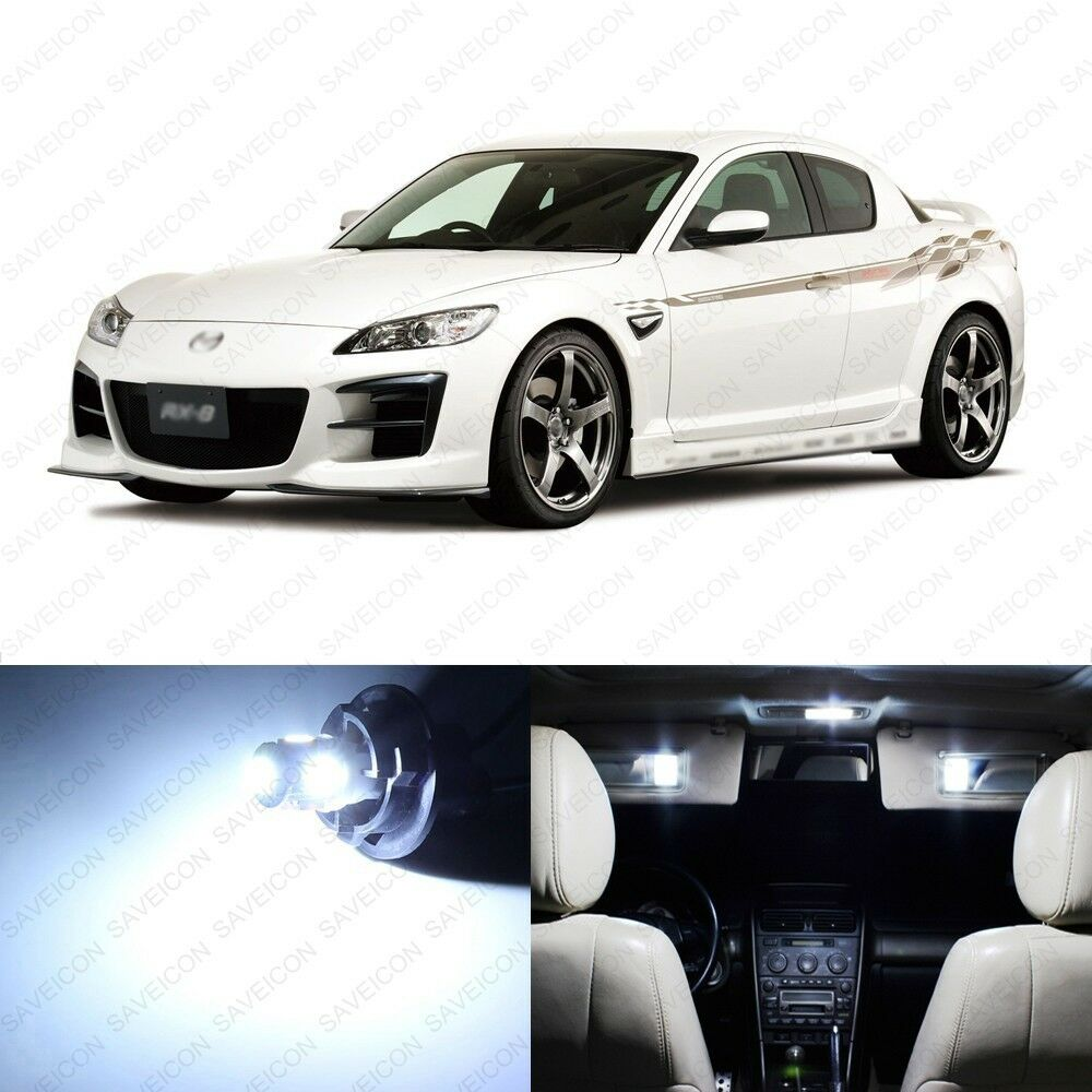 8 x xenon white led interior lights package for 2004 2011 mazda rx 8 rx8 ebay for Mazda rx8 interior accessories