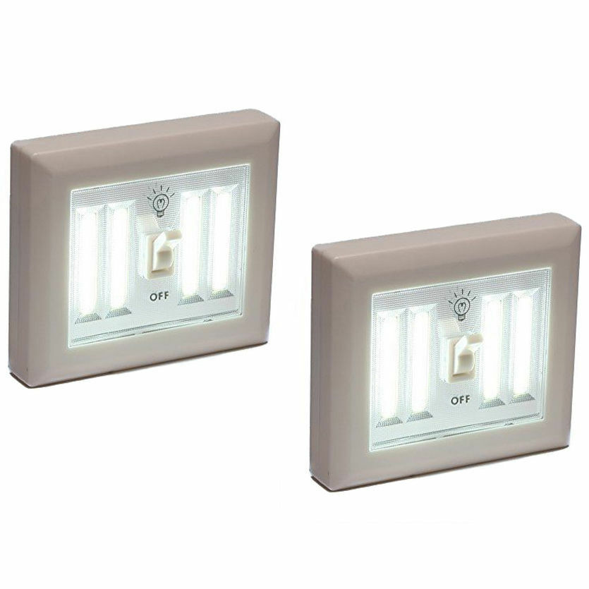 2 Wireless Night Light Wall Switch Cob Led 400 Lumens