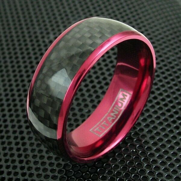 8mm wine red titanium mens ring black carbon fiber