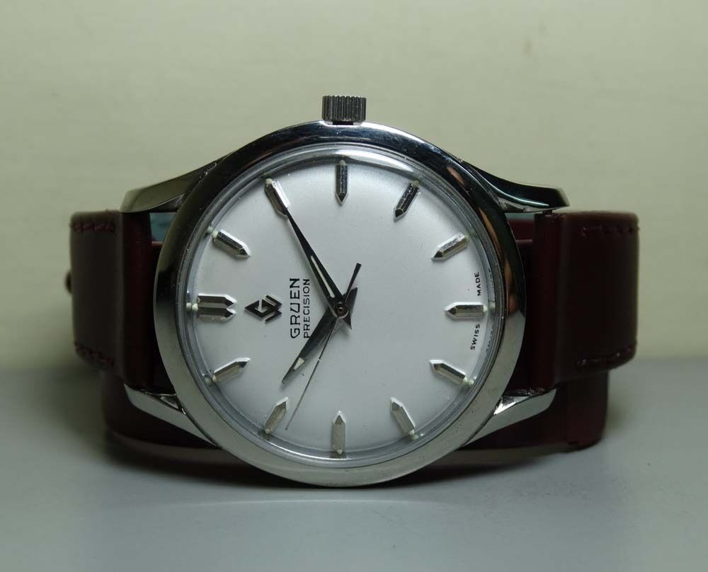 vintage gruen precision automatic swiss made wrist watch. Black Bedroom Furniture Sets. Home Design Ideas