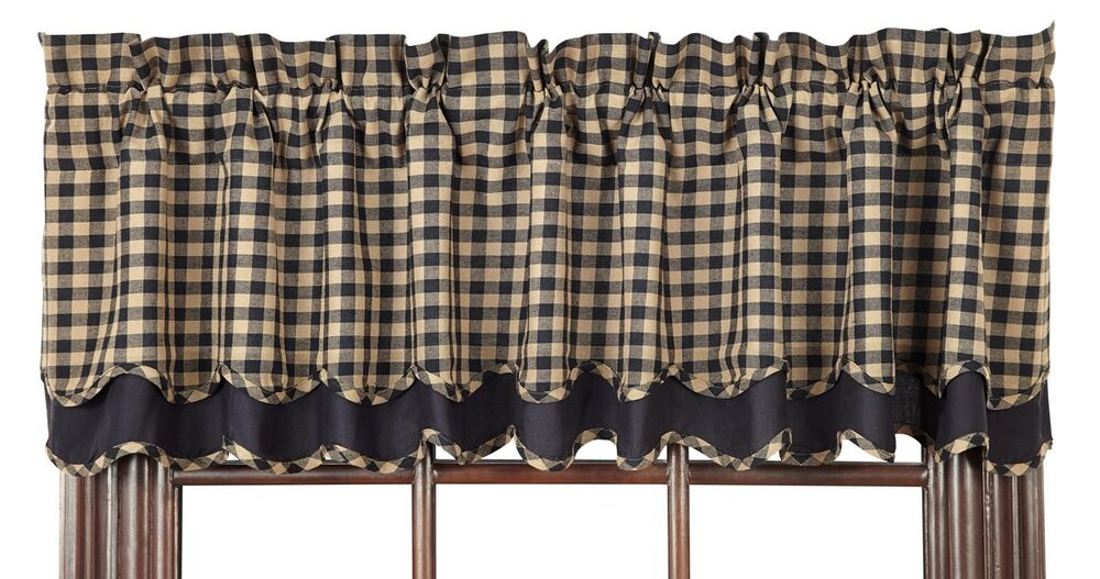 Primitive Black Check Scalloped Layered Valance Country