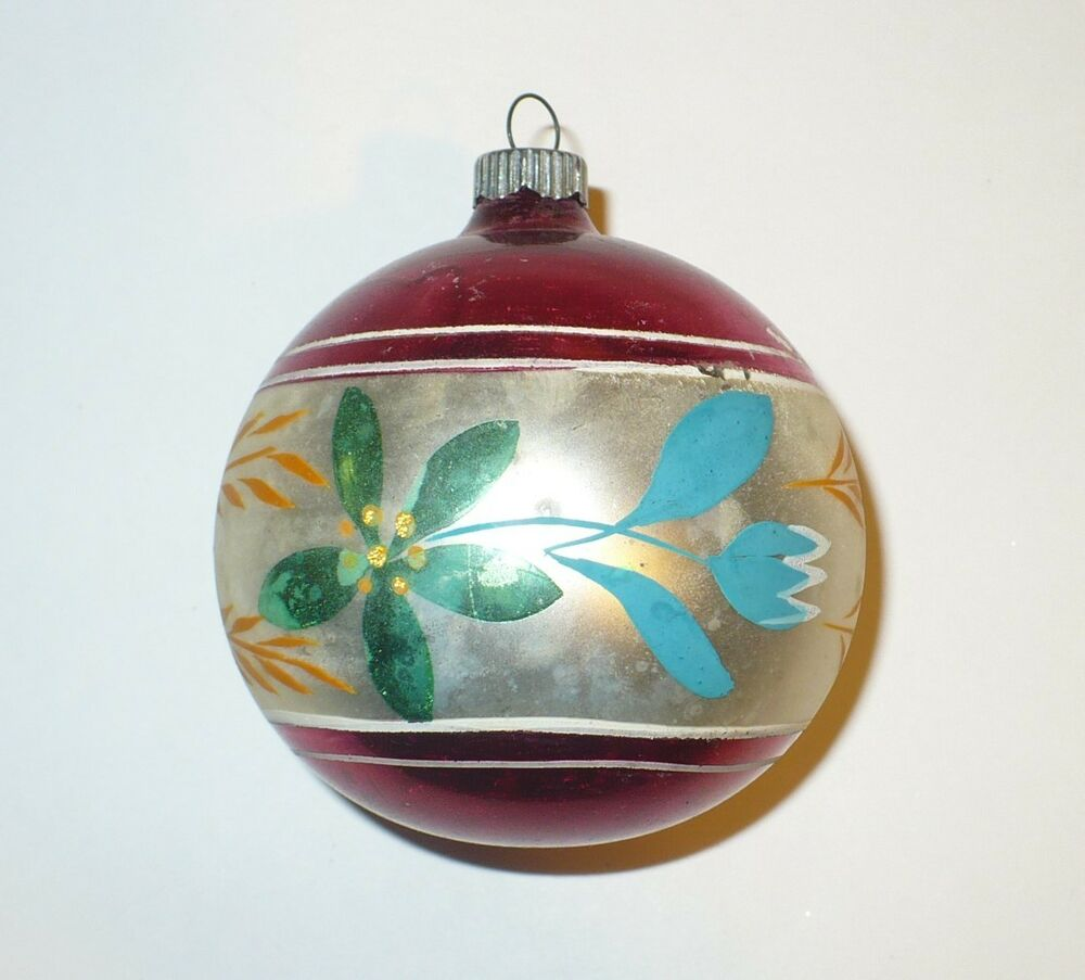 Vintage christmas hand painted flower design glass tree Vintage glass christmas tree ornaments