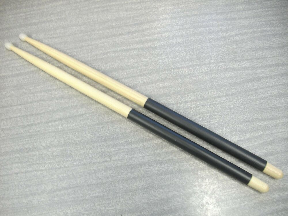 7a hickory nylon tip drum sticks with black grip with free us shipping ebay. Black Bedroom Furniture Sets. Home Design Ideas