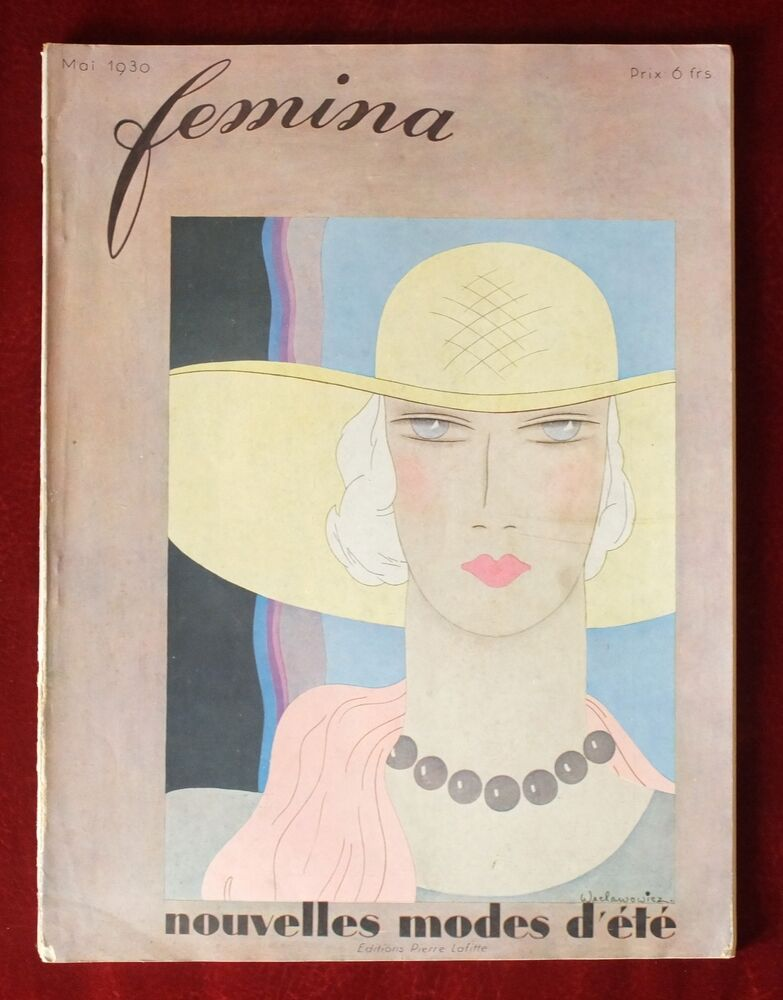 femina magazine may 1930 weclawowicz cover vintage french art deco fashion ebay. Black Bedroom Furniture Sets. Home Design Ideas