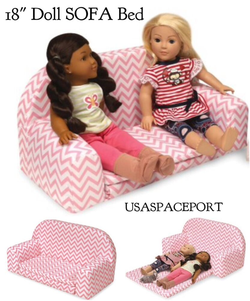 """American Girl Doll Living Room Furniture: Pink/White Chevron 18"""" Doll COUCH Convertible Sofa Sleeper"""