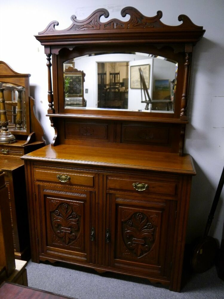 beautiful antique petite carved walnut sideboard buffet ebay. Black Bedroom Furniture Sets. Home Design Ideas