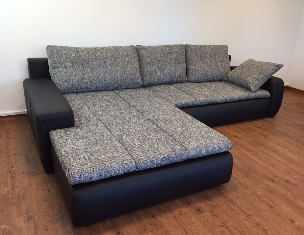 ecksofa bele mit schlaffunktion bettfunktion wohnlandschaft eckcouch grau leder ebay. Black Bedroom Furniture Sets. Home Design Ideas