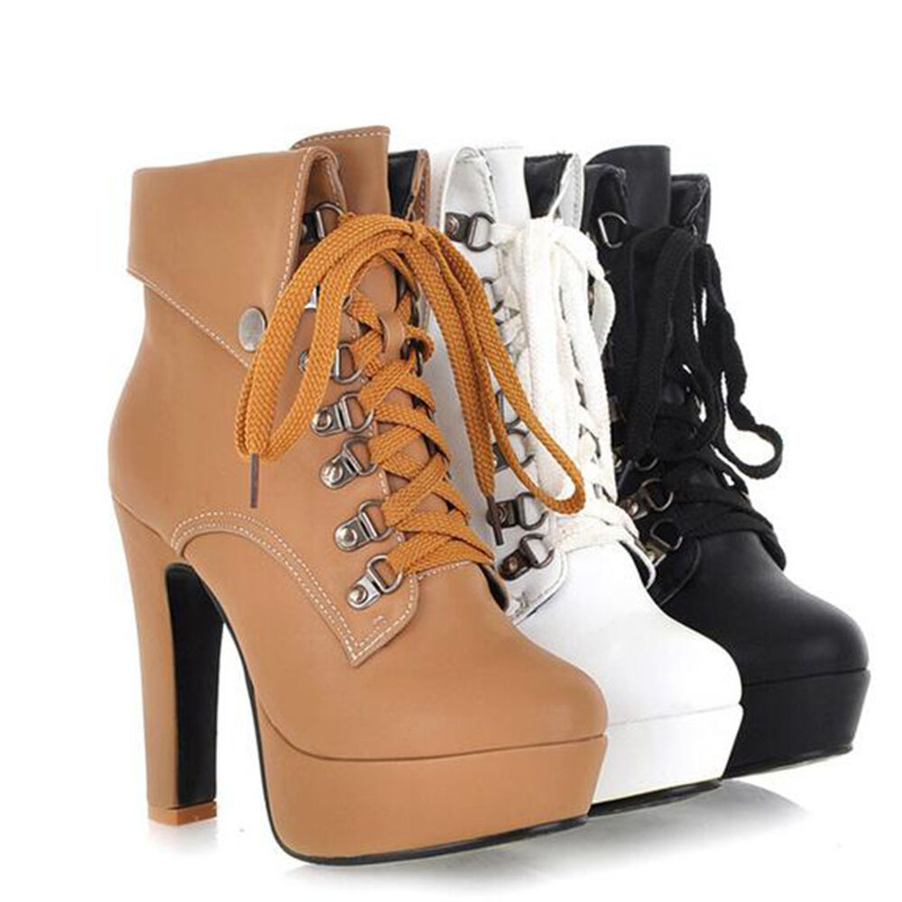f6391c828c97e5 Women Fashion Lace Up High Platform Ankle Boots Heels Casual Party Shoes US  11
