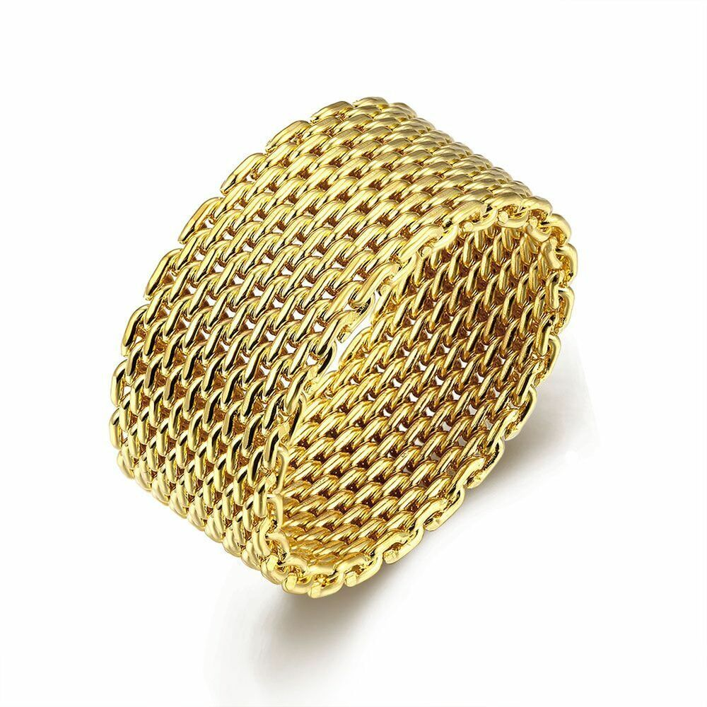 Gold Silver Plated Mesh Ring Men Women S Wedding Band