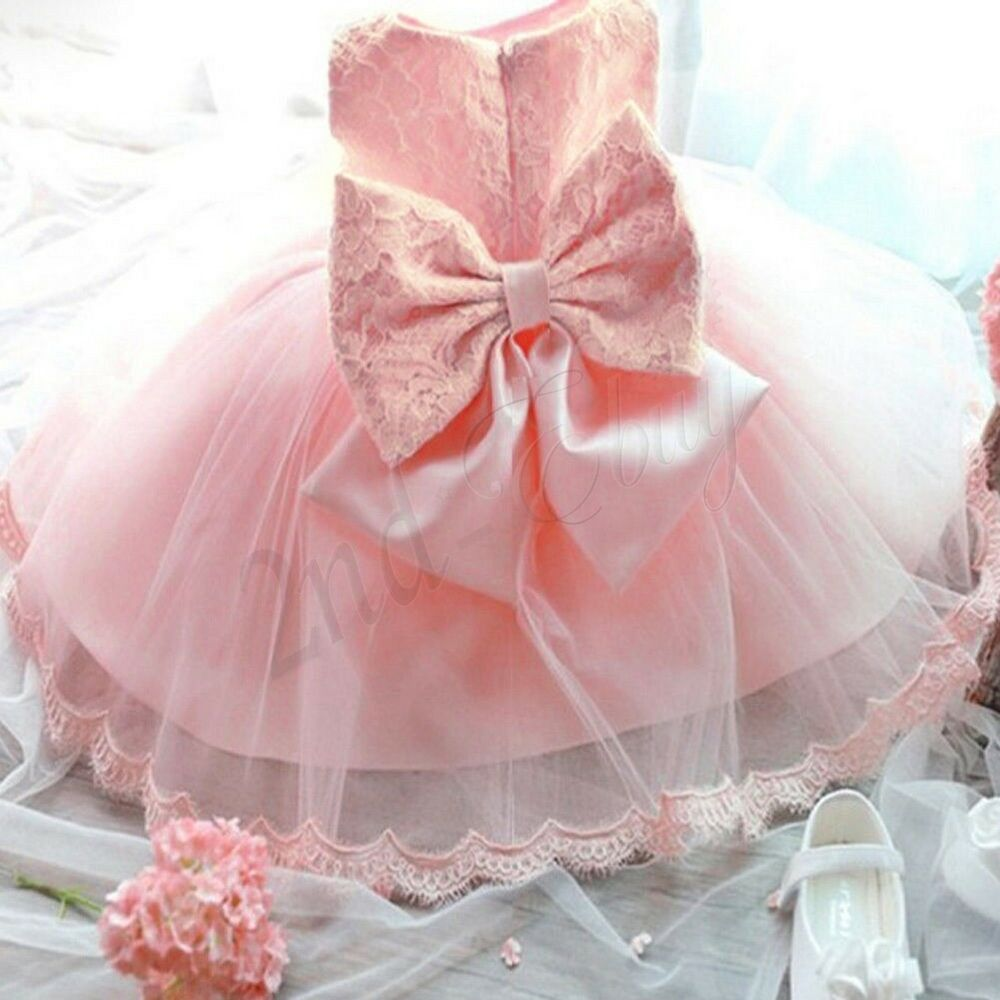 Wedding party christening gown formal pageant ruffle baby for Baby wedding dresses newborn