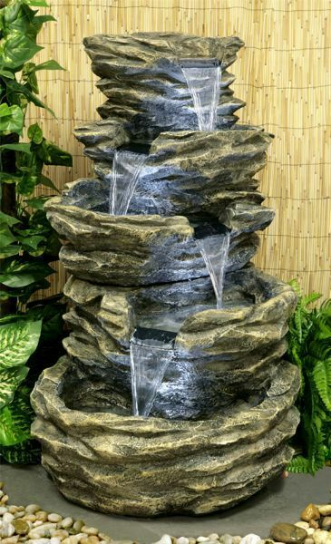 4 tier rock effect cascade water feature fountain with led for Jardin 5 esquinas