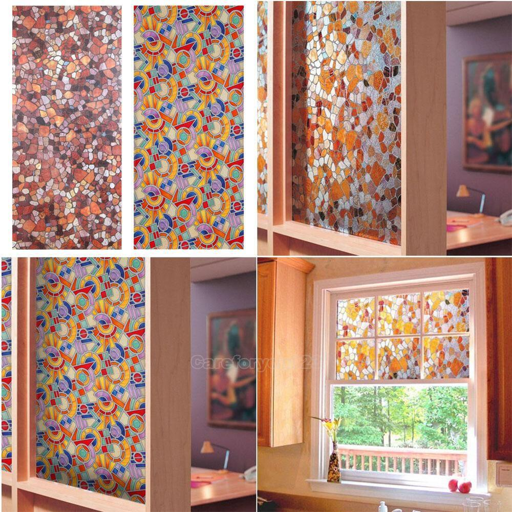 3d static cling stained glass paper frosted decorative home window film privacy ebay. Black Bedroom Furniture Sets. Home Design Ideas