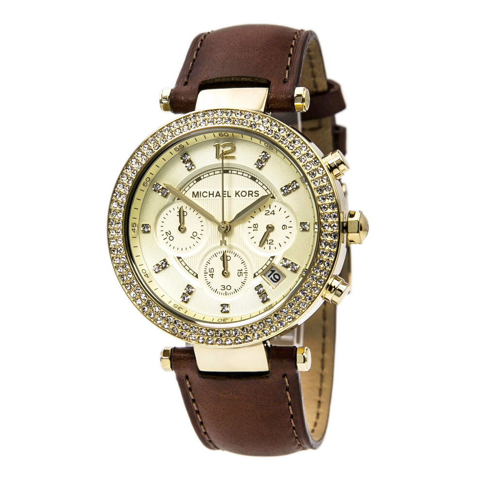 michael kors mk2249 s gold brown chrono