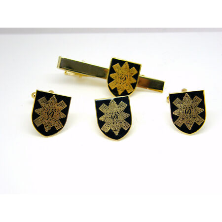 img-THE BLACK WATCH ARMY MILITARY BADGE CUFFLINKS TIE CLIP LAPEL GIFT SET BOX