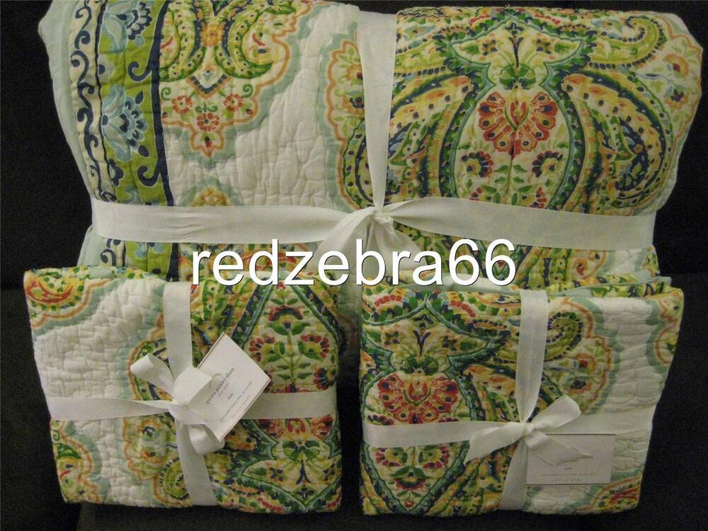 Pottery Barn Quinn Wholecloth Paisley Full Queen Quilt And