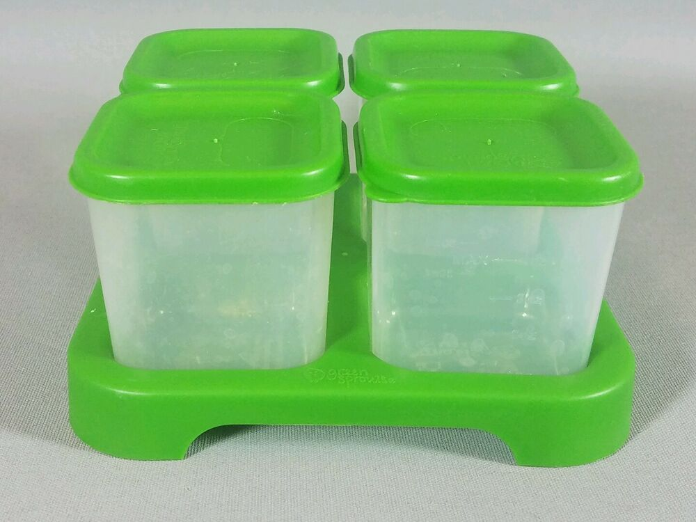 green sprouts unbreakable food storage containers plastic set of 4 w lids baby ebay. Black Bedroom Furniture Sets. Home Design Ideas