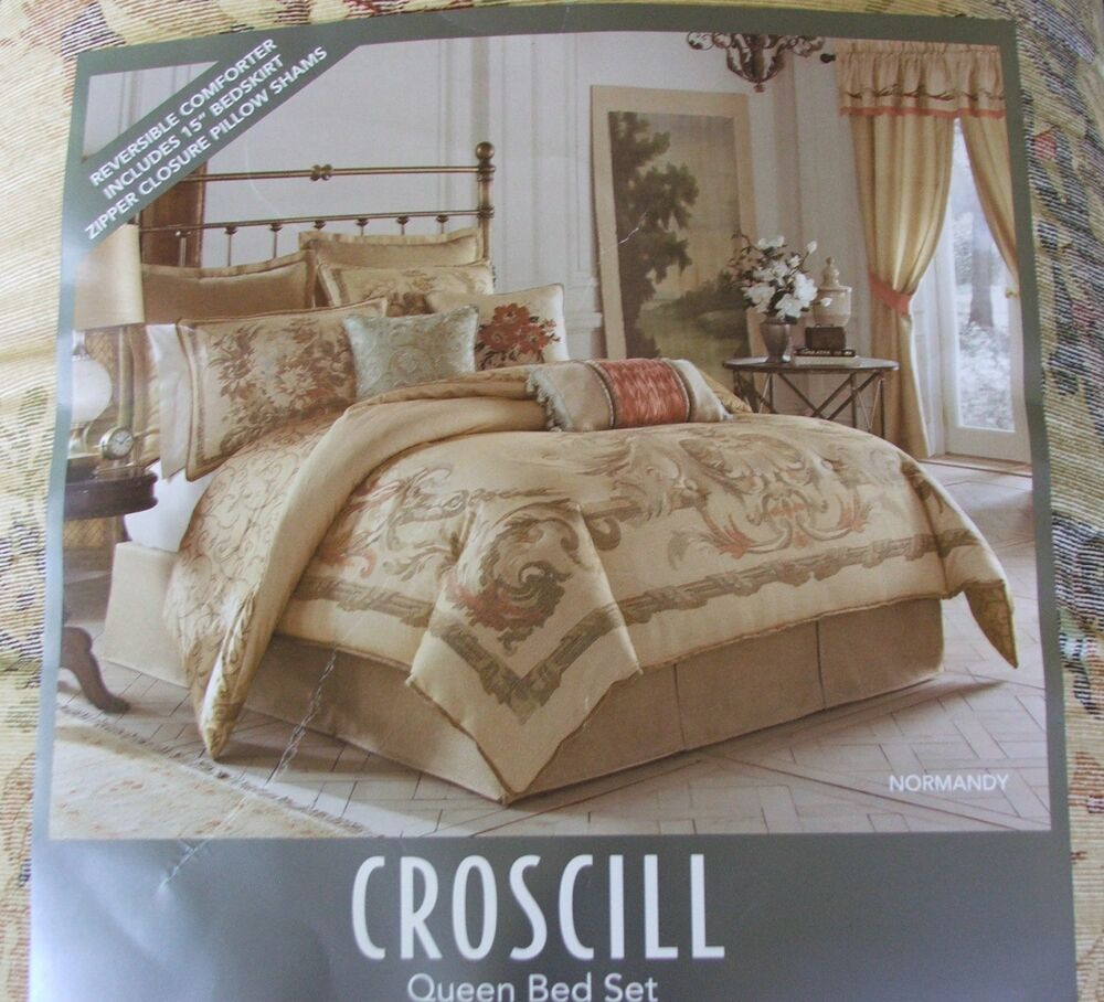 Clearance New Croscill Normandy Queen Size Comforter 4 Piece Set Rustic Floral Ebay