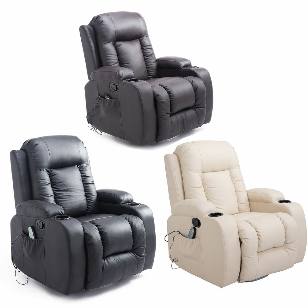 Massage Sofa Chair Recline Rocking Armchair Lounge Heated Pu Deluxe Electric Ebay