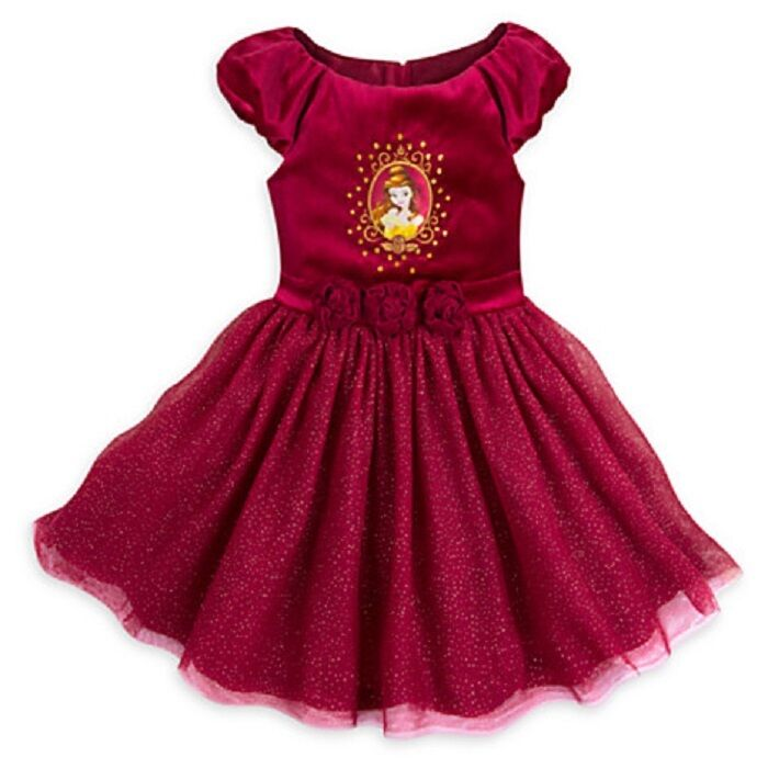 Perfect Christmas Party Dress: DISNEY STORE GIRLS BEAUTIFUL BELLE FANCY PARTY DRESS