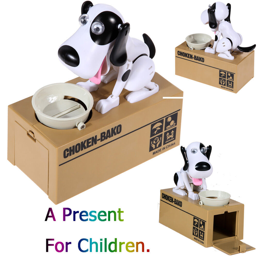 choken puppy hungry dog coin bank money saving box piggy. Black Bedroom Furniture Sets. Home Design Ideas